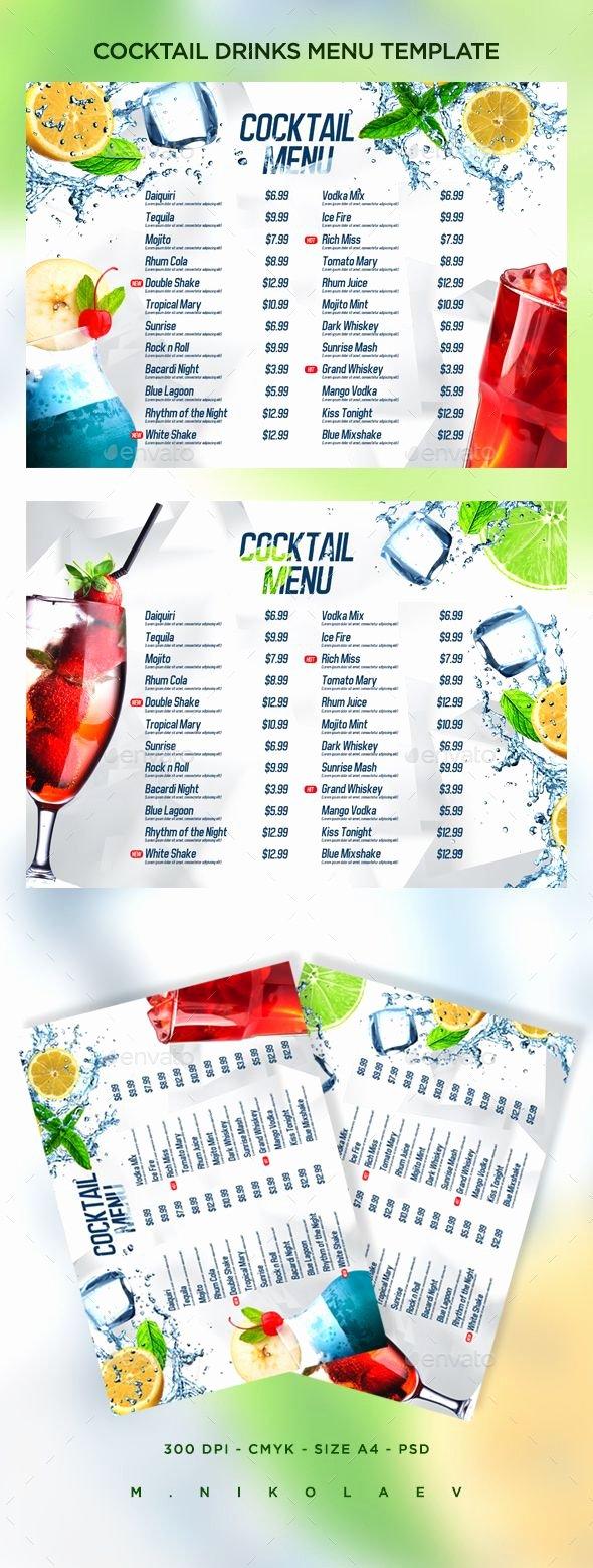 Drink Menu Template Free Awesome Cocktail Drinks Menu V8