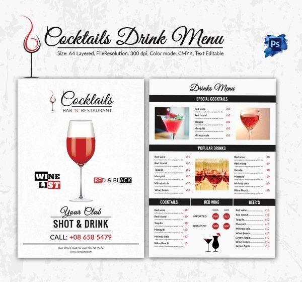 Drink Menu Template Free Beautiful Cocktail Menu Template – 45 Free Psd Eps Documents