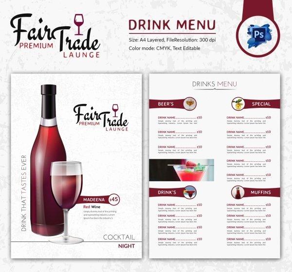 Drink Menu Template Free Beautiful Drink Menu Template – 25 Free Psd Eps Documents Download
