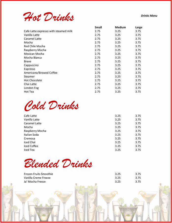 Drink Menu Template Free Elegant 5 attractive Drink Menu Templates for Your Bar Business