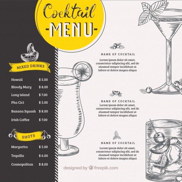 Drink Menu Template Free Elegant Cocktail Menu Vectors S and Psd Files