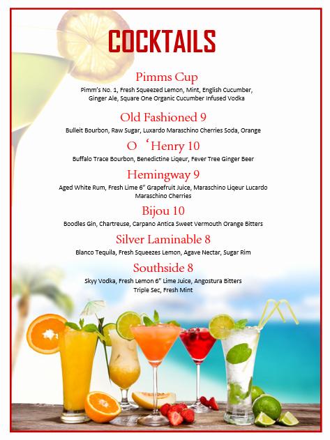 Drink Menu Template Free Fresh Cocktail Menu Template