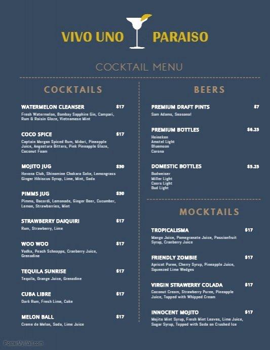 Drink Menu Template Free Fresh Minimal Cocktail Menu Template