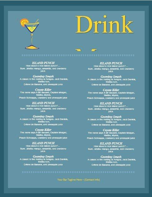 Drink Menu Template Free Luxury 5 Free Sample Bar Menu Templates Printable Samples