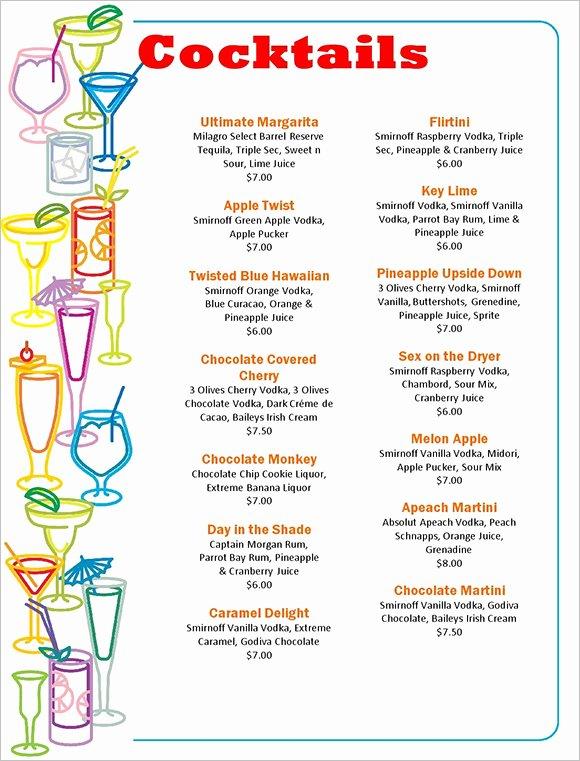 Drink Menu Template Free Luxury Cocktail Menu Templates – 54 Free Psd Eps Documents