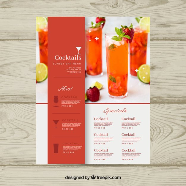 Drink Menu Template Free Unique Cocktail Menu Template with Photo Vector
