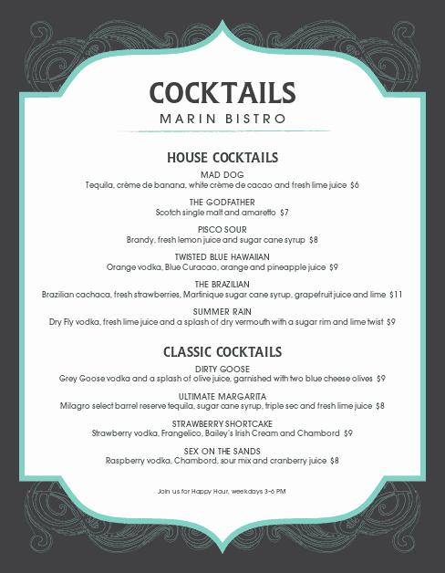 Drink Menu Template Free Unique Frozen Cocktail Menu