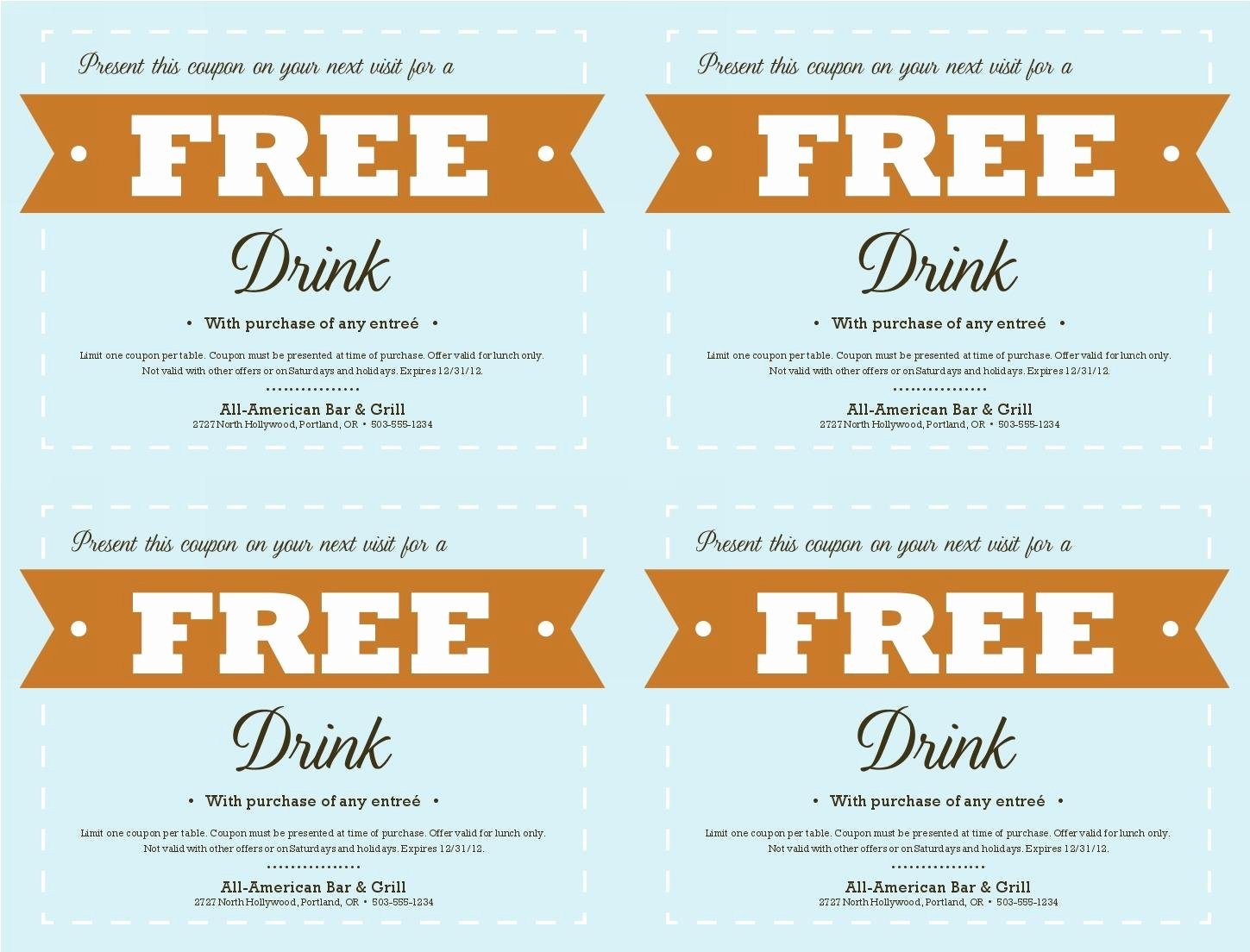 Drink Ticket Template Word Beautiful Free Coupon Template