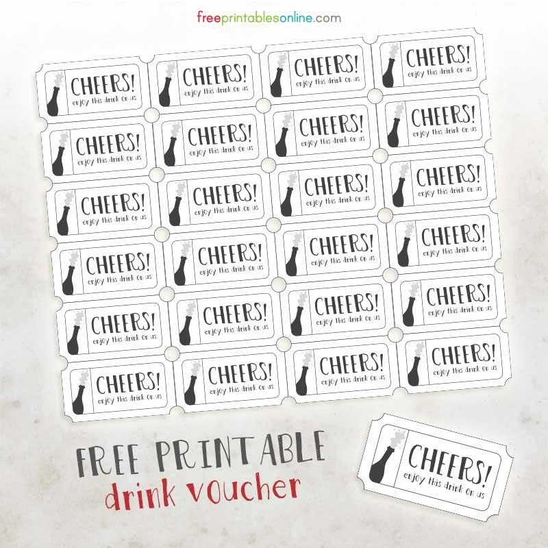 Drink Ticket Template Word Fresh Cheers Free Printable Drink Vouchers