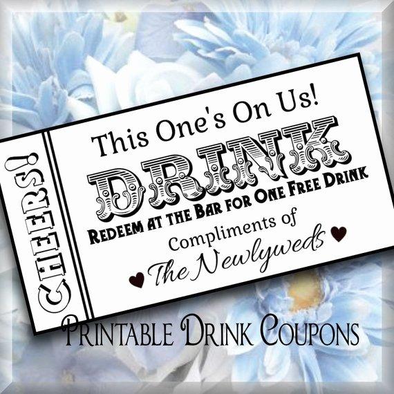 Drink Ticket Template Word Unique Drink Tickets Diy Wedding Printable Instant Download Digital