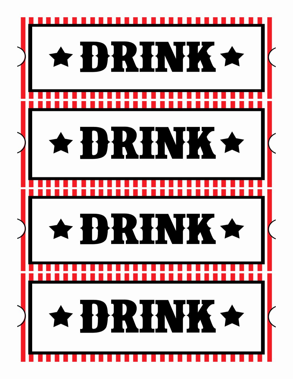 Drink Ticket Template Word Unique Sweet Daisy Designs Free Printables Home Movie theatre Night