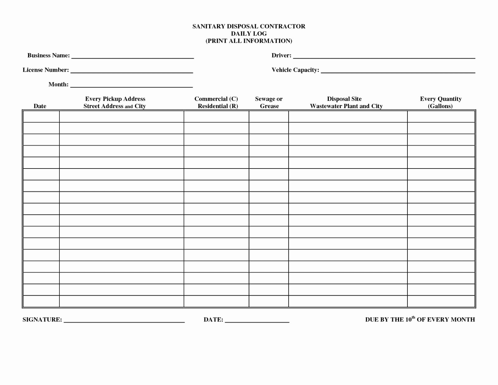 Drivers Log Sheet Template Elegant Driver Log Sheetplate Drivers Daily formplates Example