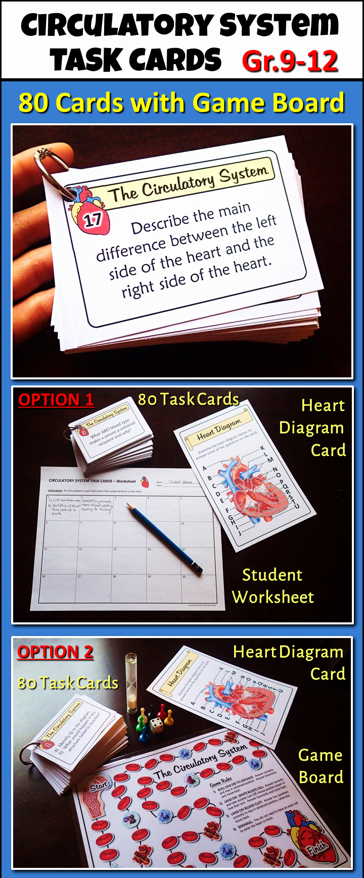 Editable Board Game Template Elegant Circulatory System Task Cards with Game Board Editable