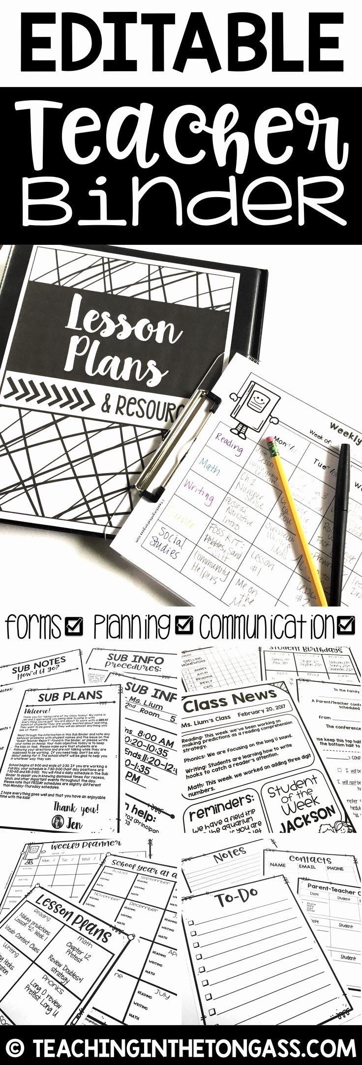 Editable Lesson Plan Template Fresh 25 Best Ideas About Binder Cover Templates On Pinterest
