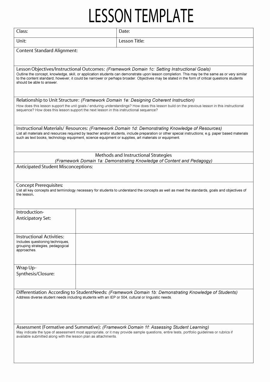 Editable Lesson Plan Template Inspirational 44 Free Lesson Plan Templates [ Mon Core Preschool Weekly]