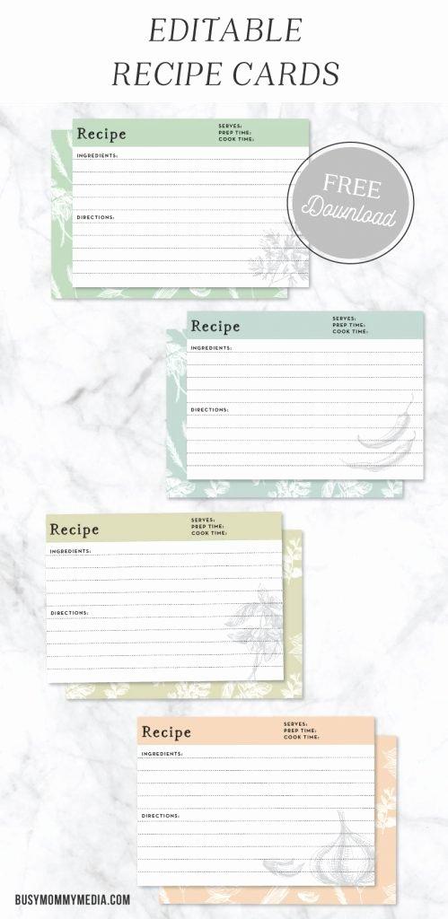 Editable Recipe Card Template Awesome Editable Recipe Cards