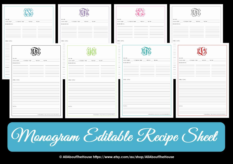 Editable Recipe Card Template Beautiful Monogram Recipe Sheet Editable Recipe Card Preppy Template