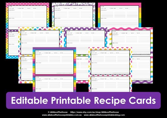 Editable Recipe Card Template Best Of Printable Recipe Card Editable Template Pdf Sheet Recipe