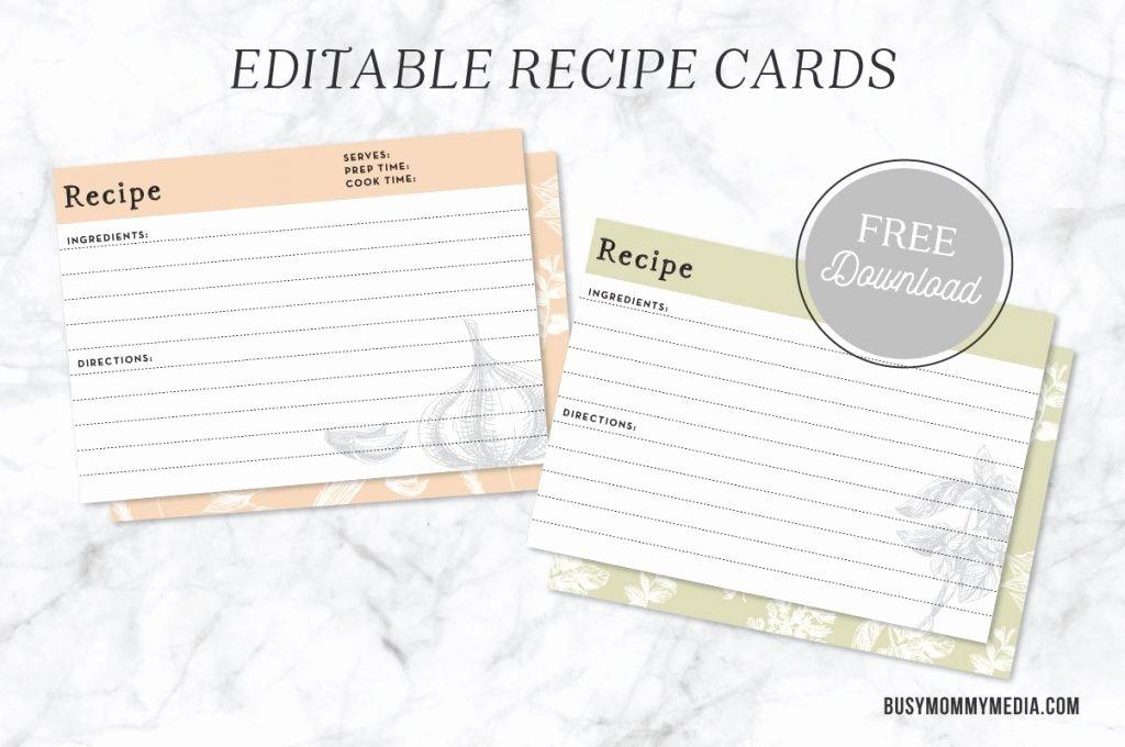 Editable Recipe Card Template Elegant Editable Recipe Cards