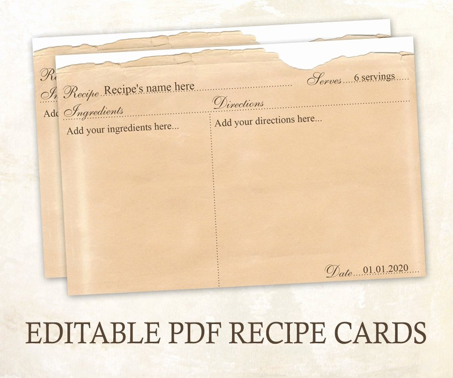 Editable Recipe Card Template Fresh Editable Recipe Cards 4x6 Rustic Recipe Cards Editable Pdf