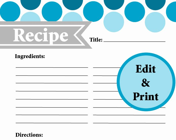 Editable Recipe Card Template Fresh Full Page Recipe Card Instant Download Fillable