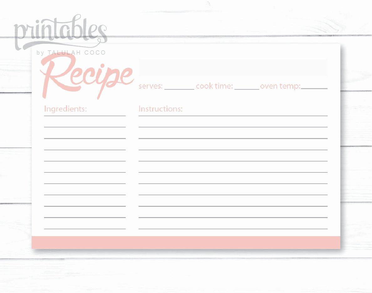 Editable Recipe Card Template Inspirational Blush Pink Recipe Cards Editable Recipe Card Simple Recipe