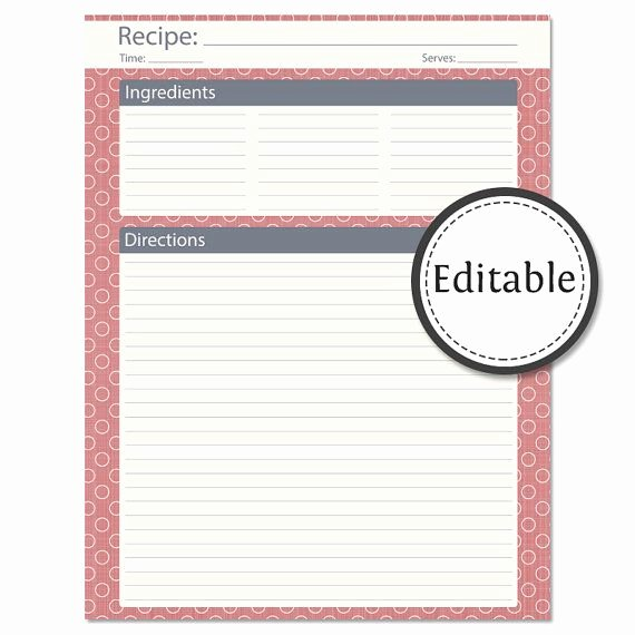 Editable Recipe Card Template Inspirational Recipe Card Full Page Fillable Instant