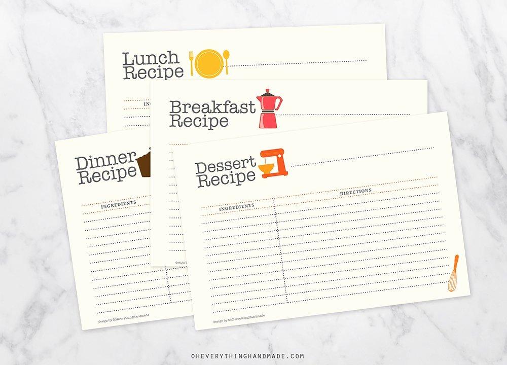 Editable Recipe Card Template Lovely Editable Recipe Card Set Card Templates Creative Market