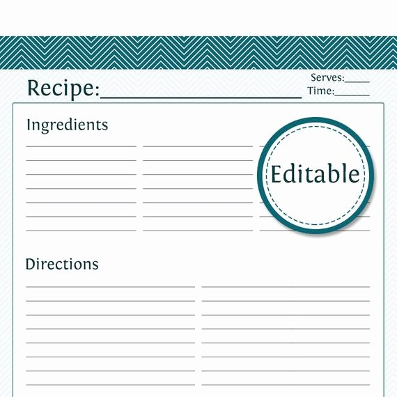recipe card full page fillable printable