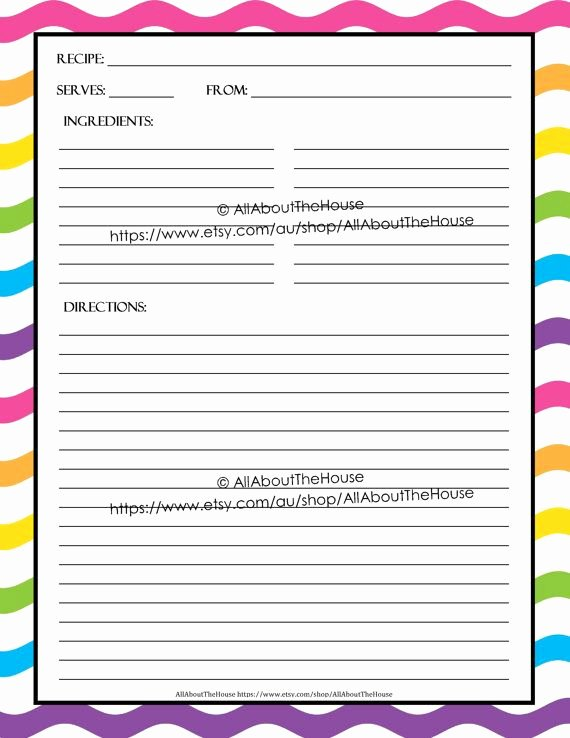 Editable Recipe Card Template Unique Editable Printable Recipe Card Template Pdf Sheet