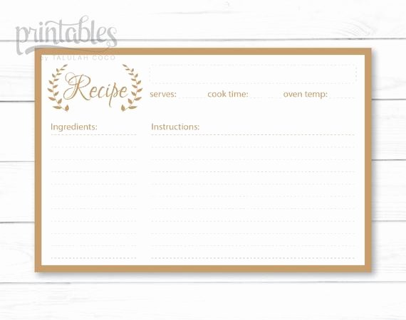 Editable Recipe Card Template Unique Editable Recipe Cards Kitchen organization Brown Recipe
