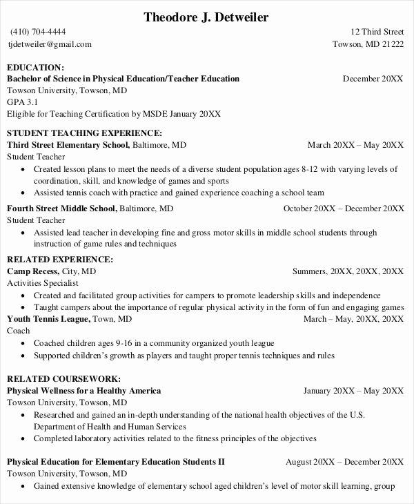 Education Resume Template Free Awesome 8 Teaching Fresher Resume Templates Pdf Doc
