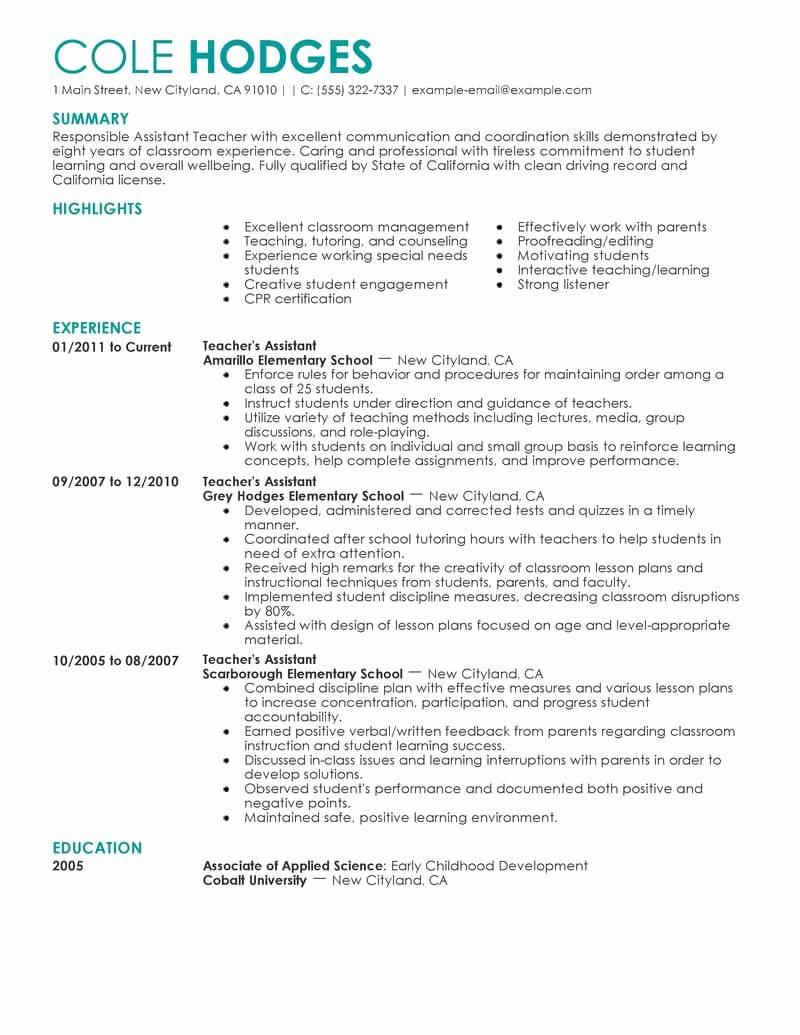 Education Resume Template Free Elegant Best assistant Teacher Resume Example