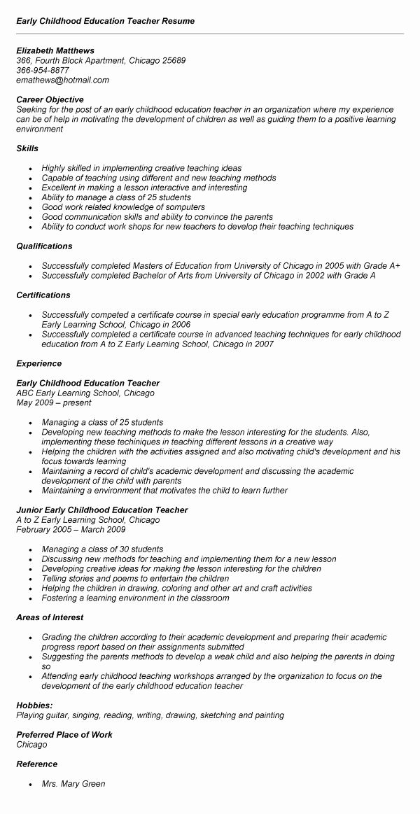 Education Resume Template Free Luxury Early Childhood Education Resume Best Resume Collection