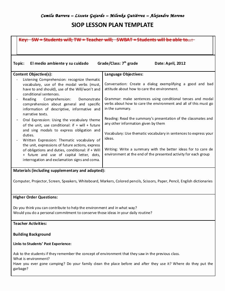 Ela Lesson Plan Template Awesome Siop Unit Lesson Plan Template Sei Model