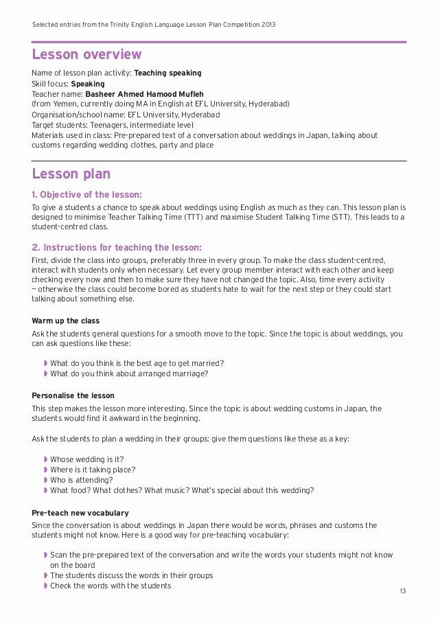 Ela Lesson Plan Template Unique Sample Lesson Plans for English Language Learners