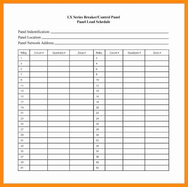 Electric Panel Schedule Template Awesome 23 Of Square D Qo Panel Schedule Template