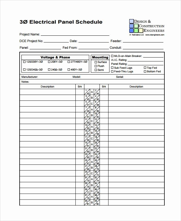 Electric Panel Schedule Template Awesome 8 Panel Schedule Templates