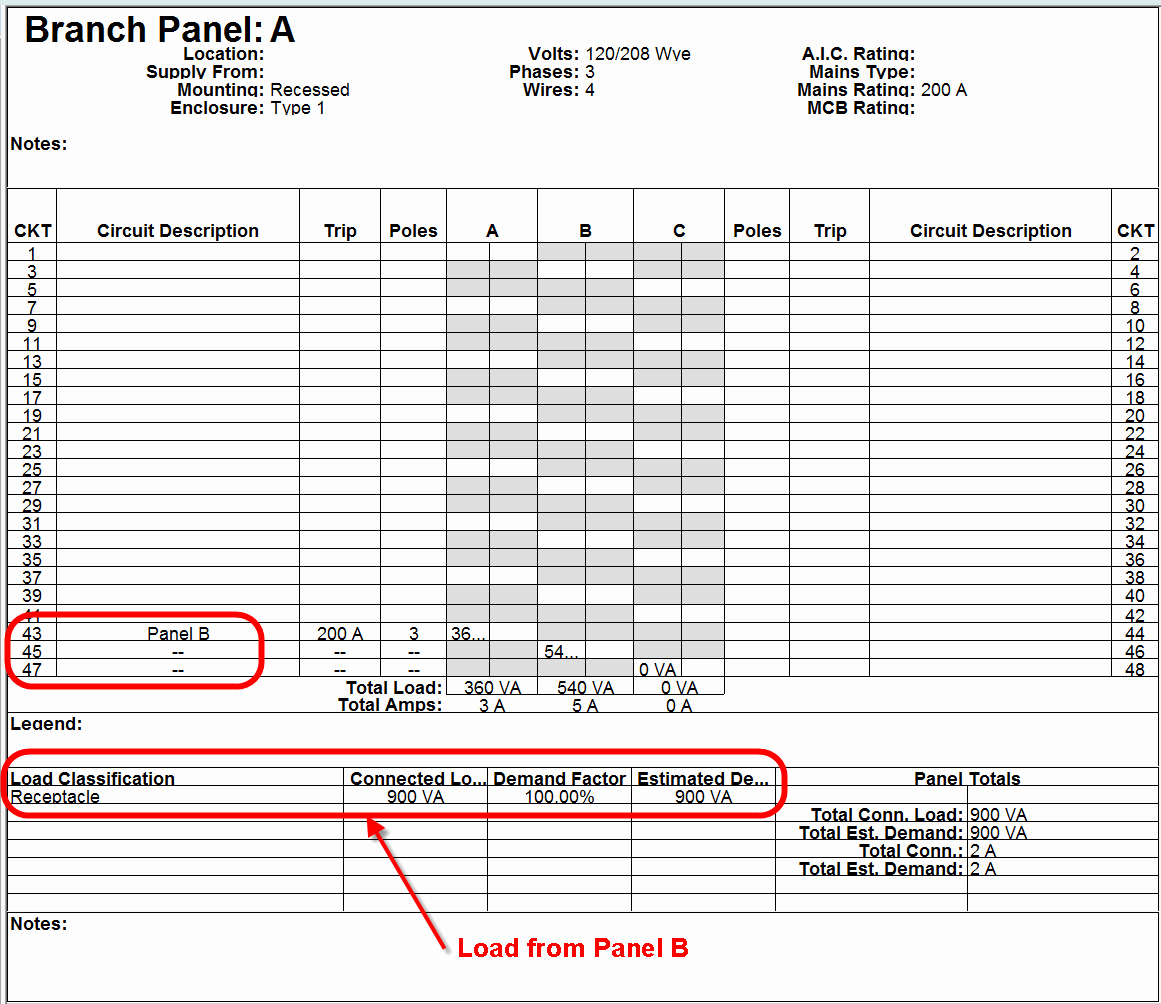 Electric Panel Schedule Template New Electrical Sub Panels with Lugs In Revit