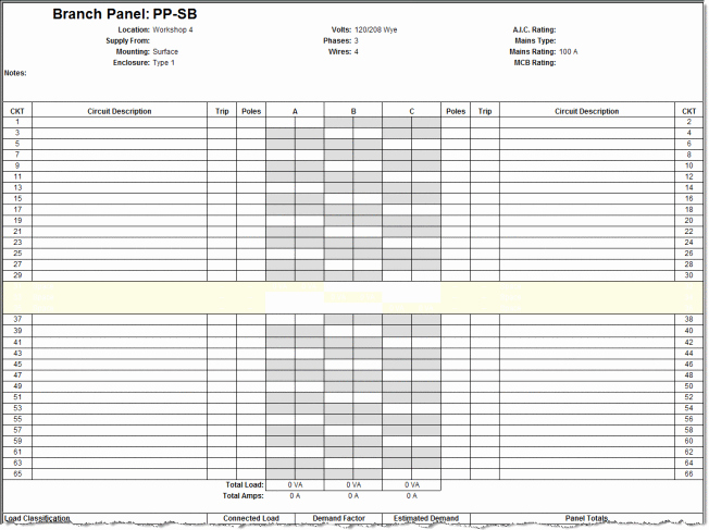 Electric Panel Schedule Template New Panel Schedules Template