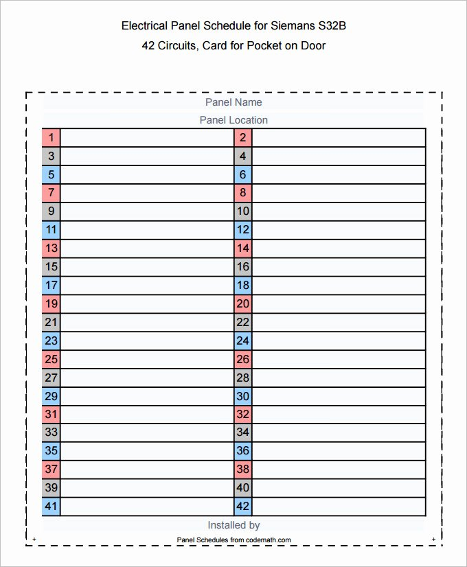 Electric Panel Schedule Template New Square D 100 Amp Sub Panel Wiring Diagram Square D 200 Amp