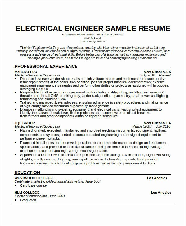 Electrical Engineer Resume Template Beautiful Free Engineering Resume Templates 49 Free Word Pdf