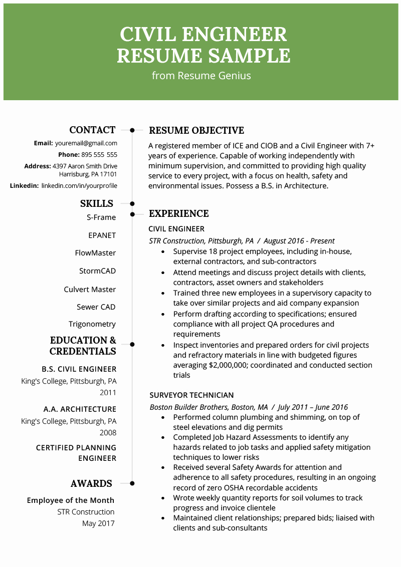 Electrical Engineer Resume Template Best Of Civil Engineering Resume Example & Writing Guide