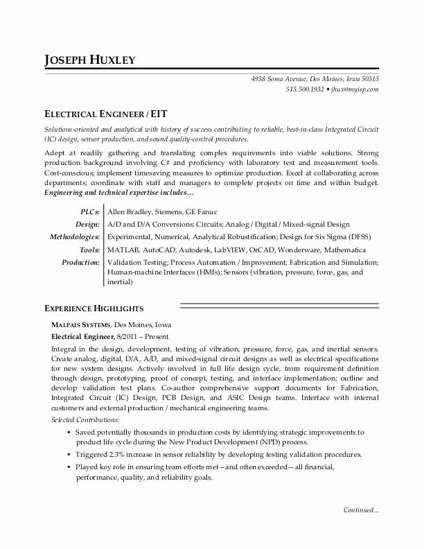 Electrical Engineer Resume Template Fresh Electrical Engineer Resume Sample