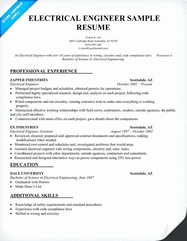 Electrical Engineer Resume Template Fresh Electrical Resume Examples – Dew Drops