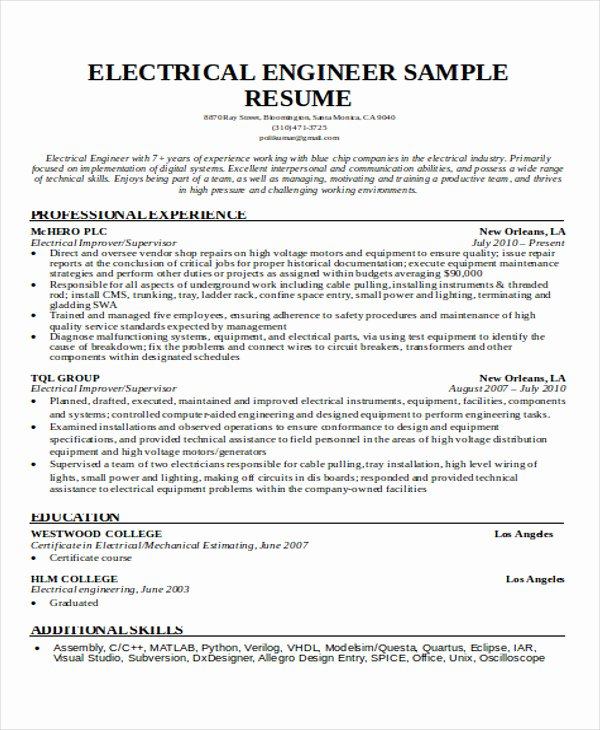 Electrical Engineer Resume Template Inspirational 47 Engineering Resume Samples Pdf Doc