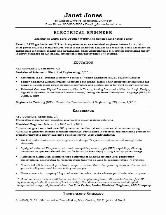 Electrical Engineer Resume Template Inspirational Entry Level Electrical Engineer Sample Resume