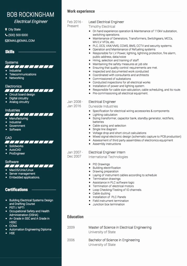 Electrical Engineer Resume Template Lovely Electrical Engineer Cv Examples & Templates