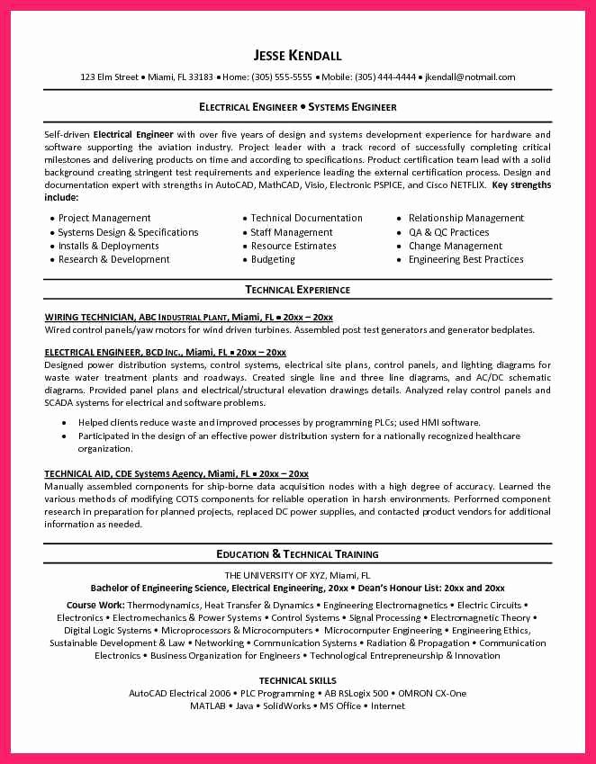 Electrical Engineer Resume Template Lovely Electrical Engineer Resume