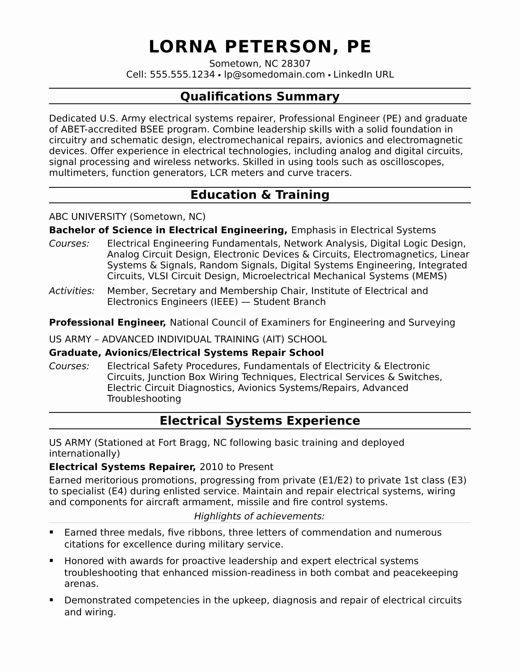 Electrical Engineer Resume Template Lovely Sample Resume for A Midlevel Electrical Engineer
